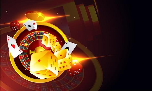 Vista dall'alto della ruota della roulette dadi e carte da gioco.