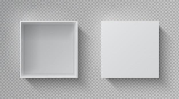 Vista dall'alto della scatola realistica. confezione bianca aperta, confezione regalo di cartone chiusa confezione di carta bianca. modello di contenitore quadrato