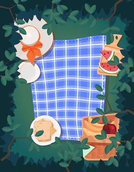 Vista dall'alto design estivo picnic