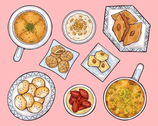Vista dall'alto di dolci arabi. cucina araba del ramadan