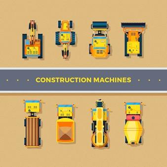Vista dall'alto di macchine da costruzione