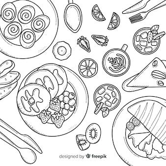 Vista dall'alto di piatti vegani sul tavolo del ristorante