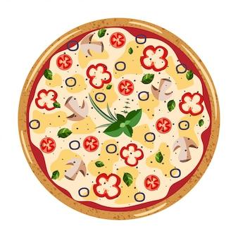 Vista dall'alto di pizza intera vegetariana