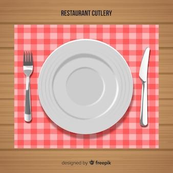 Vista dall'alto di posate ristorante con un design realistico