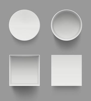 Vista dall'alto di scatole. modello bianco aperto del modello di casi del presente dei regali isolato