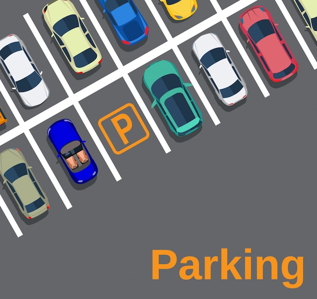 Vista dall'alto di un parcheggio cittadino