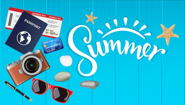 Vista dall'alto estate, piano per il viaggio con copyspace su legno, fotocamera, biglietti, passaporto, carta di credito, illustrazione vettoriale.