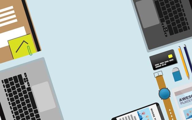 Vista dall'alto in basso della superficie del tavolo di lavoro con copia spazio
