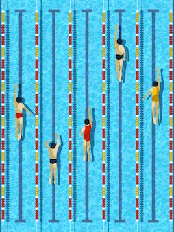Vista dall'alto piscina con vettore di nuotatori atleta