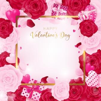 Vista dall'alto san valentino bordo quadrato incluso bordo dorato e felice san valentino testo.
