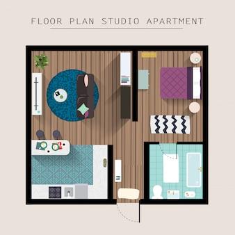 Vista dall'alto sopraelevata della mobilia dell'appartamento dettagliata. appartamento con una camera da letto.