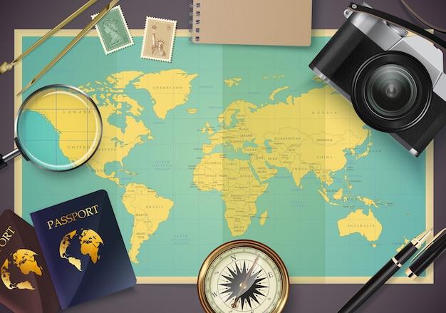 Vista dall'alto sul modello di concetto di viaggio e turismo