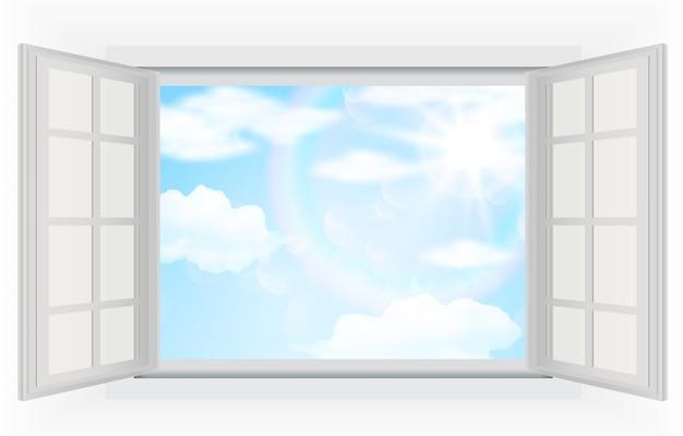 Vista del giorno luminoso dalla finestra