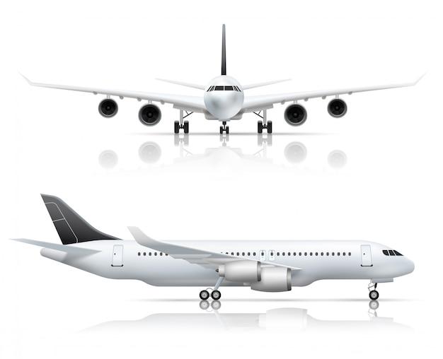 Vista dell'aeroplano anteriore e laterale del grande aereo passeggeri in aereo