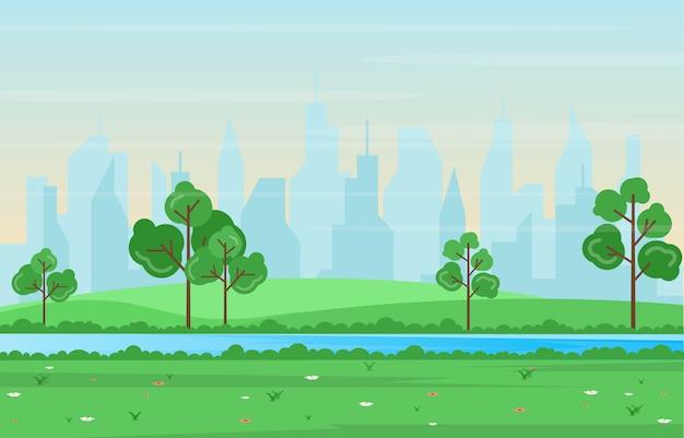 Vista della primavera di estate nell'illustrazione piana del paesaggio all'aperto del parco della città
