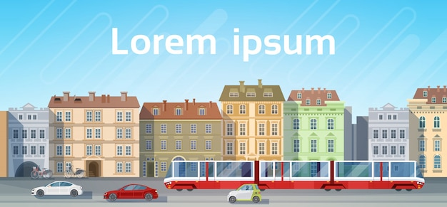 Vista delle case della costruzione della città con lo spazio della copia dell'orizzonte del fondo di trasporto del tram della strada dell'automobile
