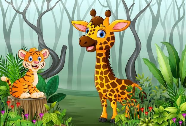 Vista delle piante forestali nella nebbia con una tigre e una giraffa
