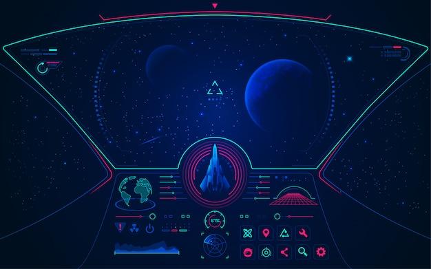 Vista dello spazio esterno dalla cabina di pilotaggio dell'astronave con interfaccia di controllo