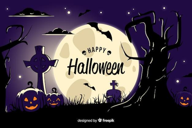 Vista dettagliata del cimitero di halloween sullo sfondo