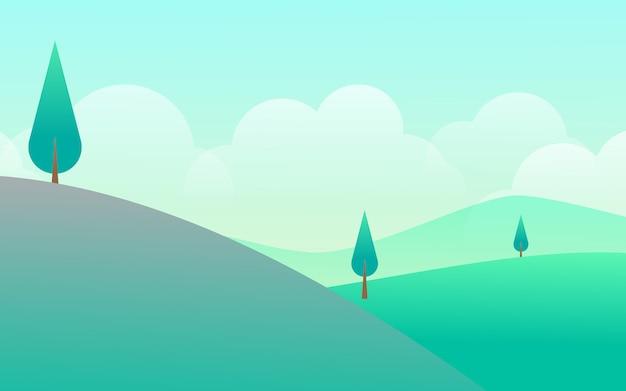 Vista di alba dell'illustrazione di progettazione di vettore della collina e della montagna del campo di erba del paesaggio