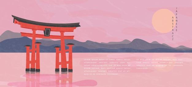 Vista di paesaggio del fondo astratto del modello di stile giapponese orientale del lago della montagna e del cancello giapponese tradizionale