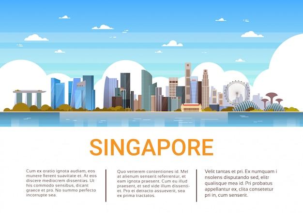 Vista di paesaggio urbano di singapore con l'insegna del modello dei monumenti e dei grattacieli famosi