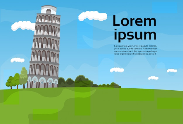 Vista famosa del punto di riferimento dell'italia del paesaggio della torre di pisa