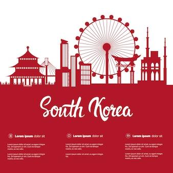 Vista famosa della città delle costruzioni di seoul della siluetta dei punti di riferimento della corea del sud con i monumenti su bianco