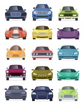 Vista frontale dei veicoli. raccolta di vettore delle automobili del fumetto del camion del bus del bus del taxi delle automobili di trasporto
