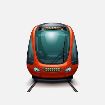 Vista frontale del moderno treno elettrico