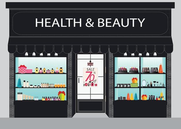 Vista frontale del negozio di cosmetici
