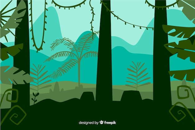 Vista frontale del paesaggio tropicale degli alberi forestali