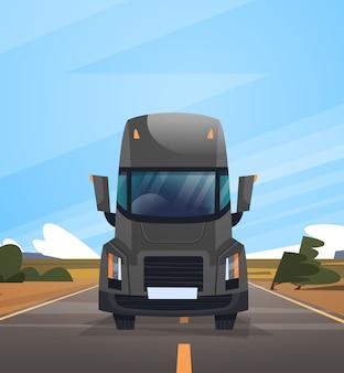 Vista frontale del rimorchio del camion del carico che guida sulla strada di coutryside sopra il paesaggio del cielo blu