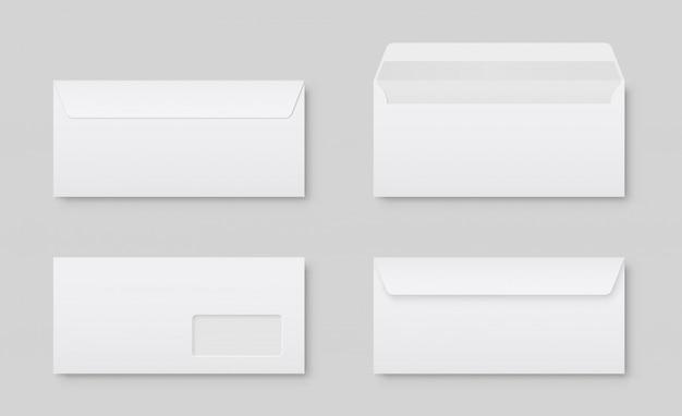 Vista frontale della busta bianca in bianco realistica dl della carta da lettere. vuoto aperto e chiuso su grigio.