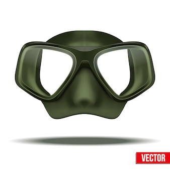 Vista frontale della maschera verde di immersioni subacquee. tempo libero in acqua, protezione in gomma su sfondo bianco