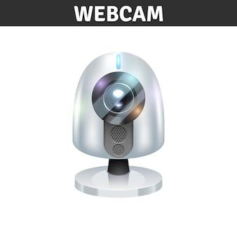 Vista frontale della webcam bianca per computer e laptop