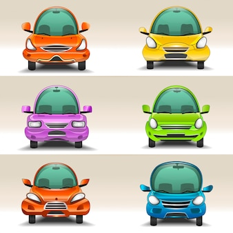 Vista frontale di auto colorate dei cartoni animati