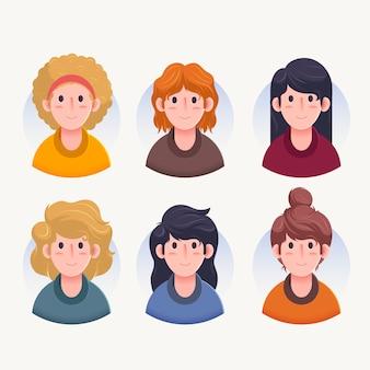 Vista frontale di vari avatar di carattere femminile