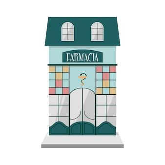 Vista frontale esterna farmacia vintage italiana.