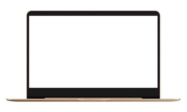 Vista frontale laptop mockup.
