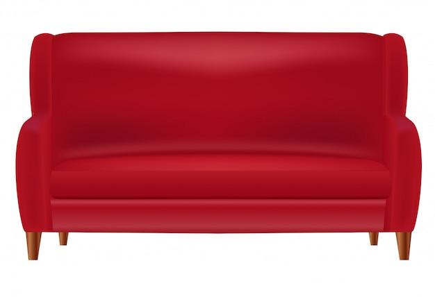 Vista frontale rossa realistica del sofà isolata su bianco