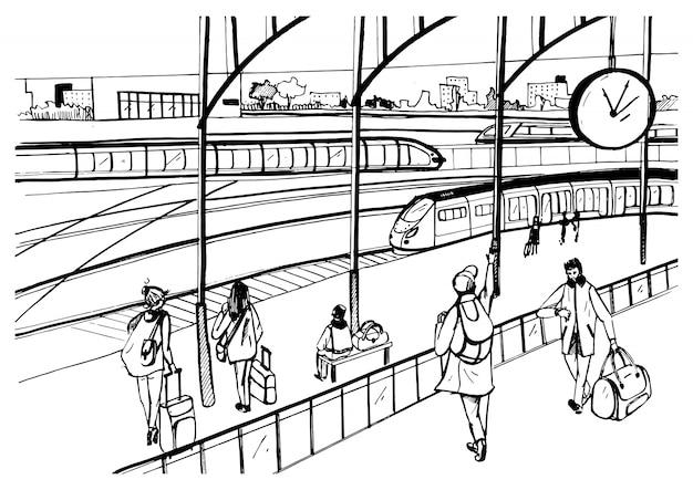Vista generale della piattaforma ferroviaria con treni e passeggeri. maschera in bianco e nero orizzontale, illustrazione disegnata a mano di schizzo.