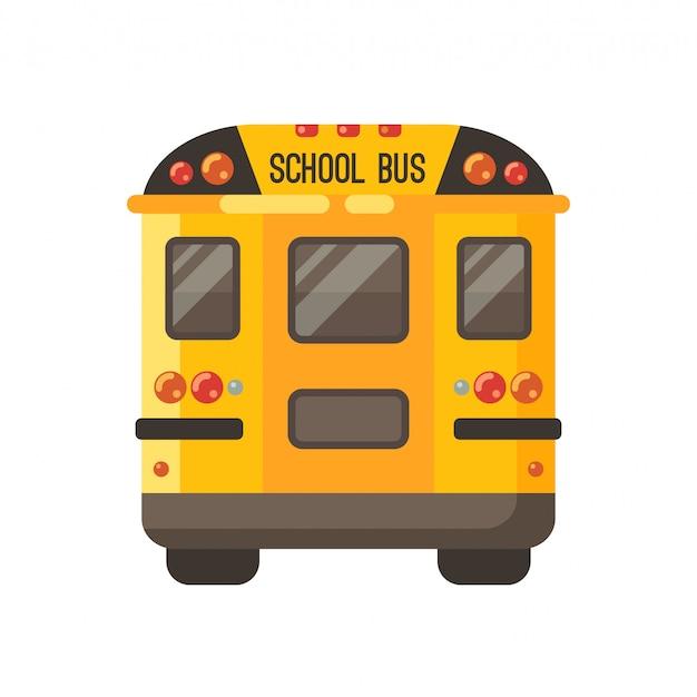 Vista gialla della parte posteriore dello scuolabus su bianco