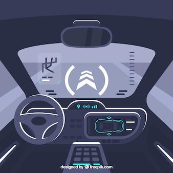 Vista interna della futuristica macchina autonoma con design piatto