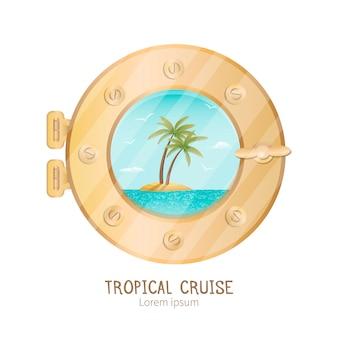 Vista isola tropicale attraverso oblò su yacht da crociera