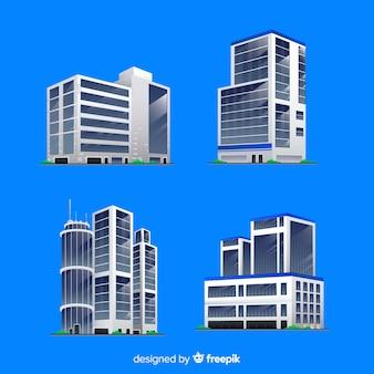 Vista isometrica degli edifici per uffici moderni
