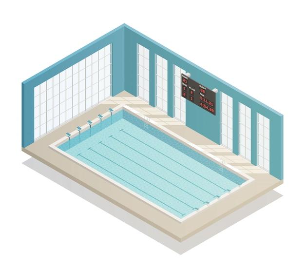Vista isometrica del bagno della piscina