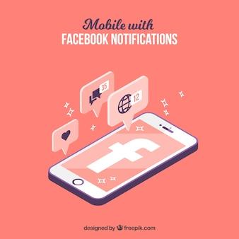 Vista isometrica del cellulare con le notifiche di facebook