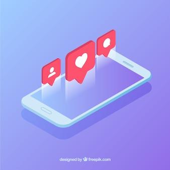 Vista isometrica del cellulare con post instagram