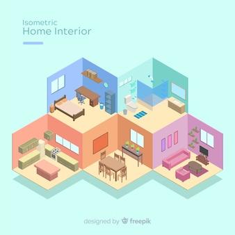 Vista isometrica dell'interno domestico moderno